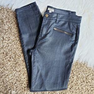 J. Crew Coated Dark Wash Skinny Jeans
